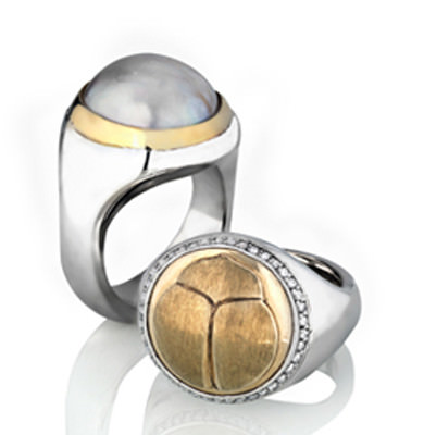 SCARAB LOGO – RING SOLID WHITE + YELLOW GOLD + DIAMONDS