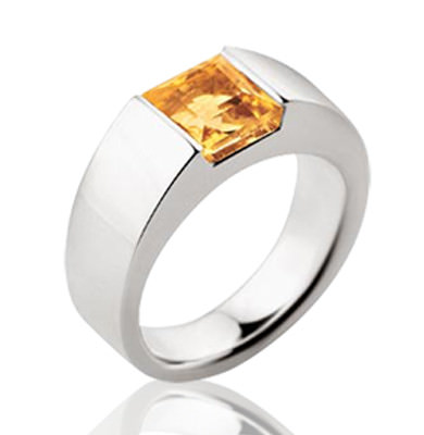2CT CITRINE IN SOLID 9CT WHITE GOLD