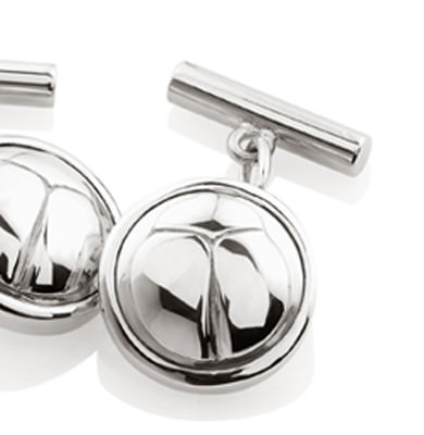 SCARAB LOGO – CUFFLINKS IN SOLID STERLING SILVER. AVAILABLE IN 18K WHITE OR YELLOW GOLD