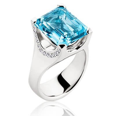 12CT LIGHT BLUE TOPAZ + DIAMONDS + 18K WHITE GOLD