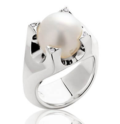 PASPALEY PEARL + DIAMONDS IN 18K WHITE GOLD