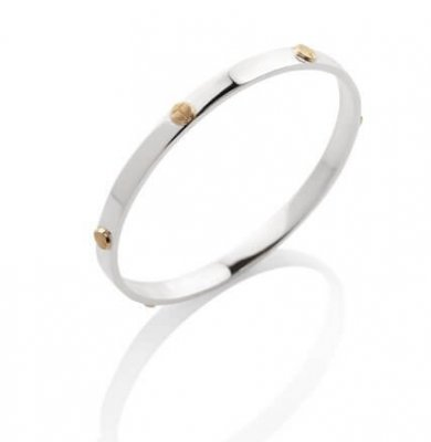 SCARAB LOGO BANGLE IN SOLID STERLING SILVER + 9K YELLOW GOLD BABY SCARABS. AVAILABLE IN WHITE, YELLOW OR ROSE GOLD
