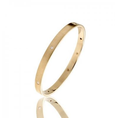 SIGNATURE DIAMOND BANGLE  SOLID YELLOW, WHITE OR ROSE GOLD + X6 DIAMONDS