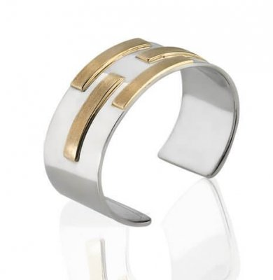 SIGNATURE MATRIX CUFF IN SOLID 9K YELLOW GOLD + SOLID STERLING SILVER